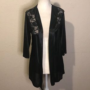 Vintage 80s black lace bed jacket retro